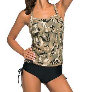 Light Camouflage Print 2pcs Tankini Swimsuit